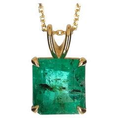 3.30-Carat 14K Colombian Emerald, Emerald Cut Solitaire Gold Pendant