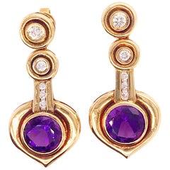 3.30 Carat Amethyst and Diamond Custom Estate Earrings in 18 Karat Yellow Gold