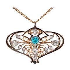 3.30 Carat Art Deco Zircon and Diamond Pendant