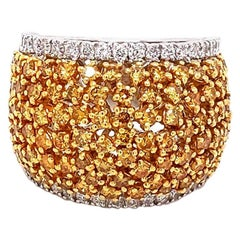 3.30 Carat / Cluster Natural Fancy Yellow Diamonds / 18 Karat Two-Tone Gold/Ring