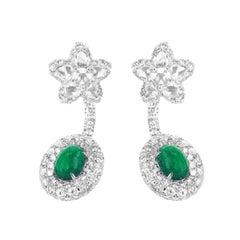 3.30 Carat Colombian Emerald 5.84 Carat White Diamond Subtle Drop Earring