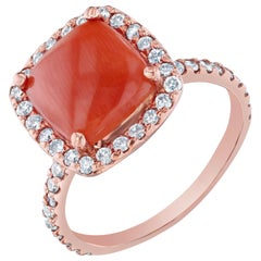3.30 Carat Coral Diamond 14 Karat Rose Gold Promise Ring