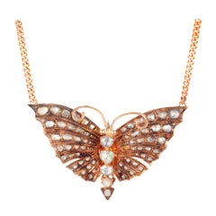 3.30 Carat Diamond 14 Karat Rose Gold Victorian Butterfly Pendant Necklace