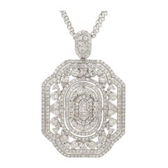 3.30 Carat Diamond 18 Karat White Gold Necklace