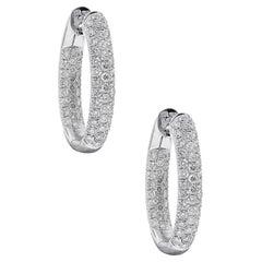 3.30 Carat Diamond Hoop Earrings
