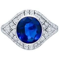 3.30 Carat No-Heat Burma Sapphire and 0.90 Carat Diamonds, Art Deco Style Ring