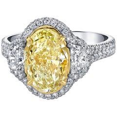 EGL Certified 3.30 Carat Oval Fancy Yellow Diamond Ring