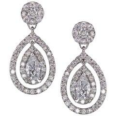 3.30 Carat Round Brilliant and Pear Cut Diamond Dangle Earrings