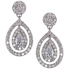 3.30 Carat Round Brilliant and Pear Cut Diamond Dangle Earrings