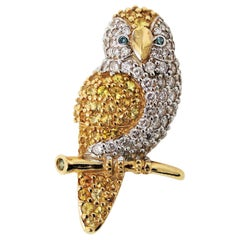 3.30 Carat Total White and Blue Diamond and Yellow Sapphire Owl Brooch 14 Karat