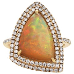 3.30 Carat Trilliant Cabochon Opal and Diamond 18 Carat Gold Cocktail Ring