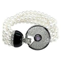 3.30 Carat White Pavé Diamonds 18 Carat Gold Art Deco Bracelet Onix and Pearls