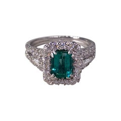 3.30 Ctw Natural Emerald and Diamond Ring in 18k White Gold