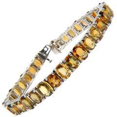 33.00 Carat Natural Gem Yellow Green Orange Color Sapphires Tennis Bracelet