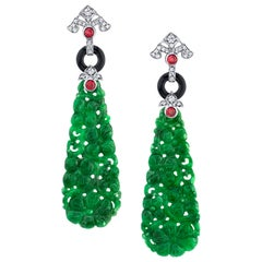 33.05 ct. t.w. Carved Jade, Onyx, Ruby and Diamond 18k White Gold Drop Earrings