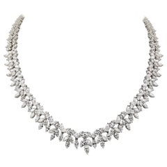 33.06 Carat Diamond and Platinum Two-Row Wreath Necklace