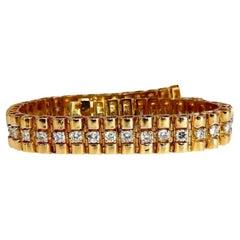 3.30ct Natural Round Diamonds Tubular Wide Bracelet 14 Karat