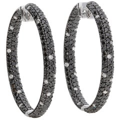 3.31 Black and 0.42 White GVS Diamonds 18 Karat White Gold Hoop Earrings