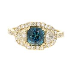 3.31 Carat GIA Certified Sapphire Diamond 18 Karat Yellow Gold Ring