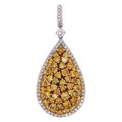 GIA Certified 3.31 Carat Natural Yellow Diamond Pear Shape, Drop Pendant