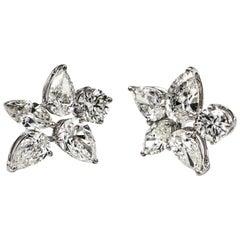 3.31 Carat Star Cluster Diamond Earrings
