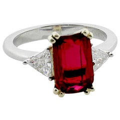 3.31 Emerald Cut Ruby and Diamond Solitaire Ring in Platinum, GIA Certified