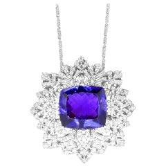 Cushion Cut Tanzanite White Diamond Fancy Chain Pendant Necklace 18K Gold