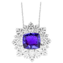 33.13 Carat Cushion Cut Tanzanite and 2.14 Carat White Diamond Pendant