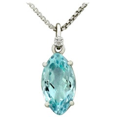 3.32 Carat Aquamarine and Diamond White Gold Pendant