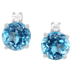 3.32 Carat Blue Topaz and White Diamond Stud Earrings