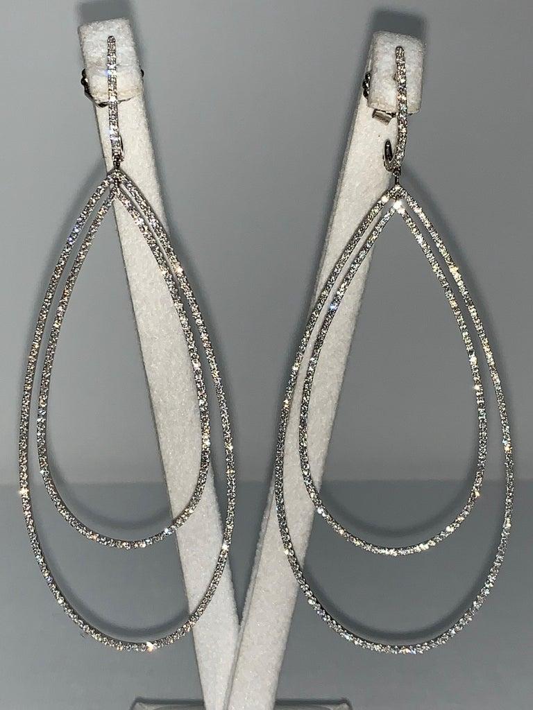 Art Deco 3.32 Carat Diamond Tear Drop Earrings For Sale