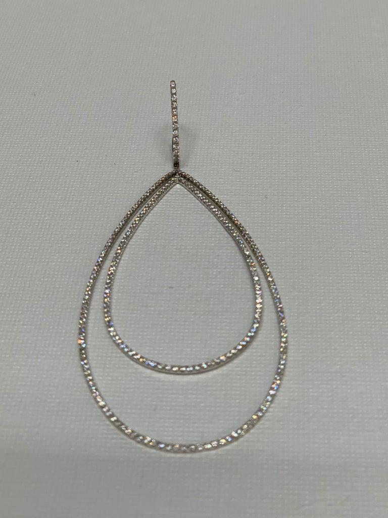 Round Cut 3.32 Carat Diamond Tear Drop Earrings For Sale