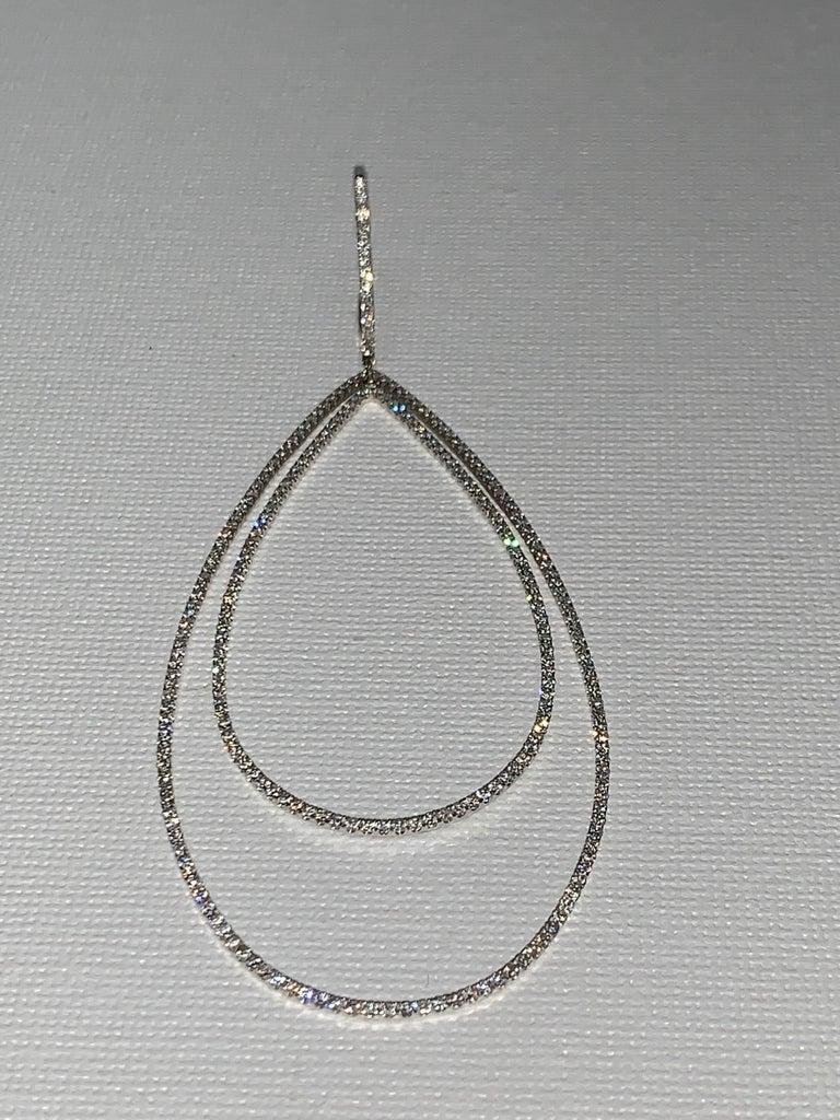 Women's 3.32 Carat Diamond Tear Drop Earrings For Sale
