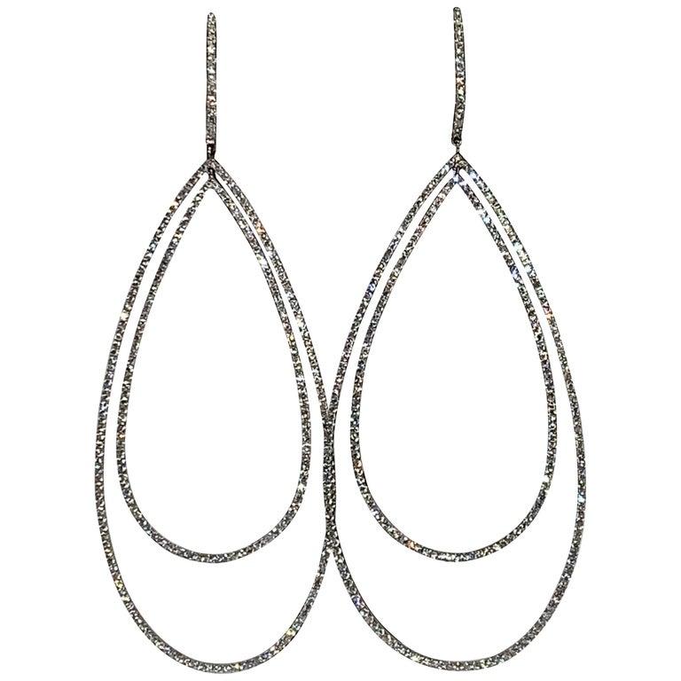 3.32 Carat Diamond Tear Drop Earrings For Sale