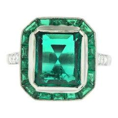 3.32 Carat Emerald Ladies Ring with 1.80 Carat Princess Cut Emerald Halo