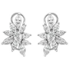 3.32 Carat Fancy Cut Diamond Cluster Earrings