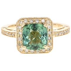 3.32 Carat Green Tourmaline Diamond 14 Karat Yellow Gold Cocktail Ring