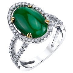 3.32 Carat Imperial Jadeite Cabochon and Diamond 18k Gold Cocktail Ring