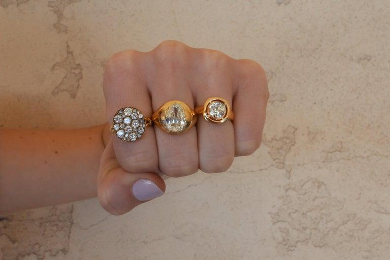 Men's 3.32 Carat M/VS2 GIA Certified Pear Shaped Diamond Set in an 18 Karat Gold Ring