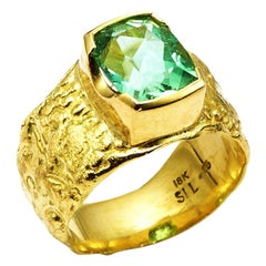 3.32 Carat Mint Tourmaline Set in 18 Karat Gold Seascape Band