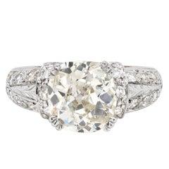 3.32 Carat Old Victorian Cushion Cut Diamond 18 Carat Gold Engagement Ring