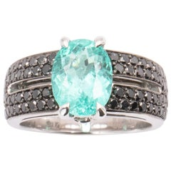 3.32 Carat Oval Paraiba Tourmaline Black Diamond Cocktail Ring