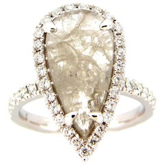3.32 Carat Rose Cut Pear Diamond Ring