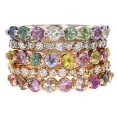 3.32 Carat Round Cut Multicolored Sapphire Diamond 14 Karat Gold Stackable Bands
