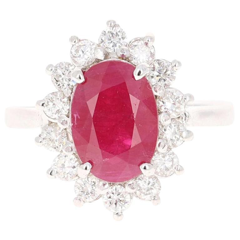 3.32 Carat Ruby Diamond 14 Karat White Gold Bridal Ring