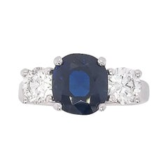 3.32 Carat Sapphire and Diamond 3-Stone Ring