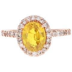3.32 Carat Yellow Sapphire Halo Diamond 14 Karat Rose Gold Engagement Ring