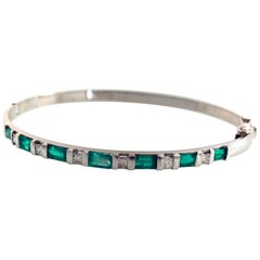 3.32 Colombian Emerald and Diamond Bangle Bracelet 18 Karat White Gold