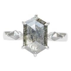 3.32 Hexagon Salt and Pepper Diamond 14K White Gold Engagement Ring AD1993-2