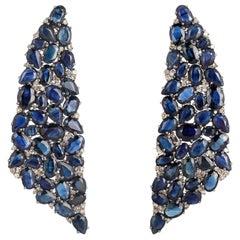 33.21 Carat Blue Sapphire Diamond Earrings